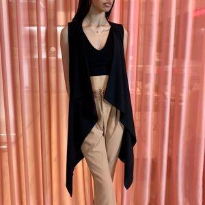 Long black draped sleeveless blazer vest